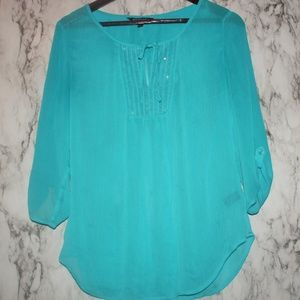 EXPRESS Sheer Blue Top w/ Sequins Small